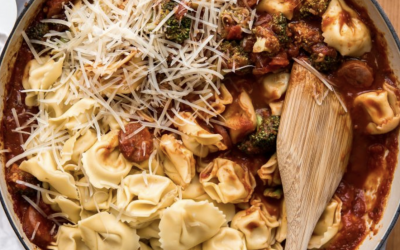 Cheesy Tortellini Bake with Turkey Sausage & Broccoli