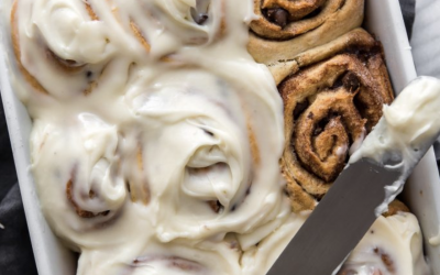 Frosted Chocolate Chip Cinnamon Rolls