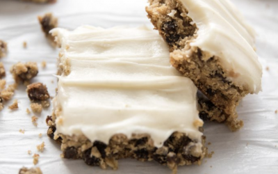 Frosted Oatmeal Raisin Cookie Bars