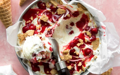 No-Churn Cherry Cheesecake Ice Cream