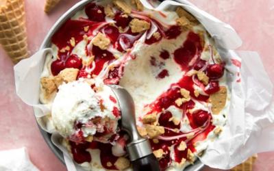 No-Churn Cherry Cheesecake Ice Cream