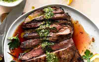 Balsamic Grilled Flank Steak with Chimichurri Sauce