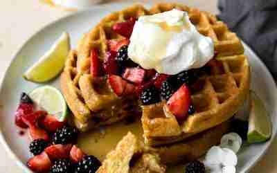 Honey Cornbread Waffles with Tequila Berries