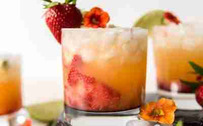 Strawberry Smash Peach Margaritas