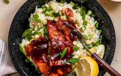 BBQ Baked Salmon with Corn Risotto