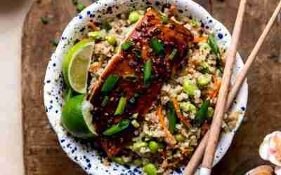 Healthy Teriyaki Salmon Bowls with Cauliflower Fried Rice