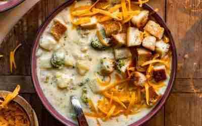 Broccoli Cheddar Potato Soup with Focaccia Croutons